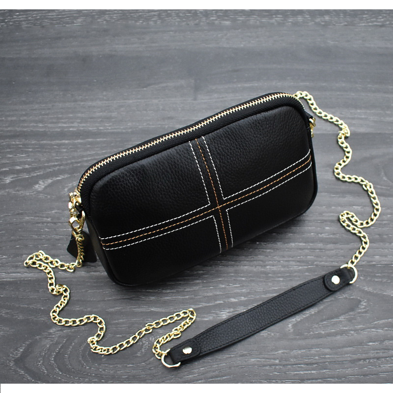 FUNMARDI 100 Genuine Leather Messenger Bags For Women 2019 Chain Strap Shoulder Bag Quilted Brand Women Bag Crossbody WLHB1981 in Shoulder Bags from Luggage Bags