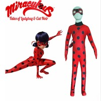 2016 Ladybug Miraculous Kids Cosplay Costume W Eye Mask Ladybug Romper Cat Suit Halloween Women Zip