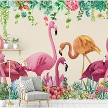 beibehang Nordic fashion thick silky wallpaper retro personality rose flamingo T