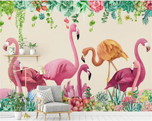 beibehang Nordic fashion thick silky wallpaper retro personality rose flamingo TV sofa background wall papers home decor behang