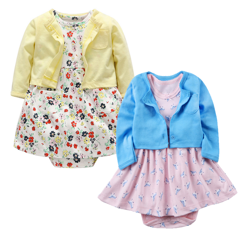 Rompers Baby Girl Dress Fashion coat+Dresses for Girls Cotton Floral Dresses Long Sleeve Cardigan Baby Girl Clothes Newborn 2018