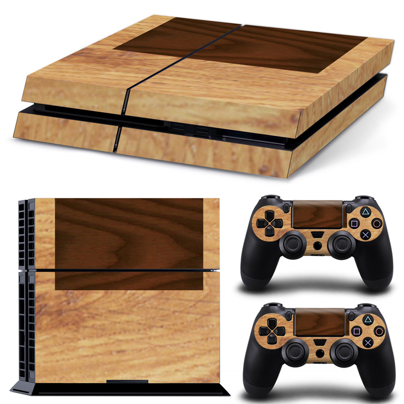 Free drop shipping wooden customizable hot selling for PS4 console and two controllers skin sticker decals covers #TN-PS4-0920 image