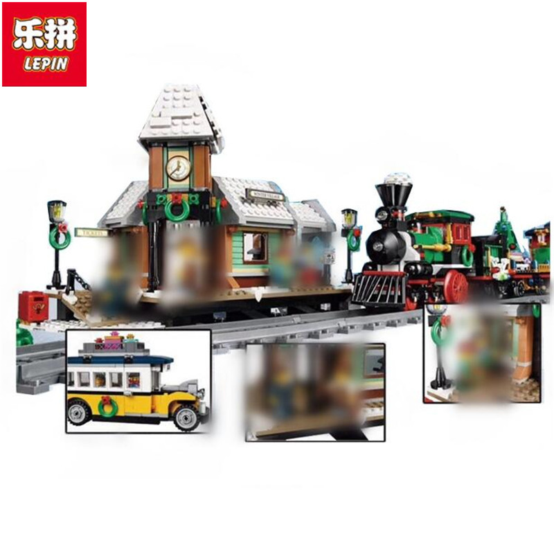Lepin 36011 36001 Creative the Winter Village Station Set model Building Blocks Bricks Educational Toys Gifts 10259 christmas lepin 36011 creative series 1010pcs legoinglys village station model sets building nano block bricks toys diy for boy girls