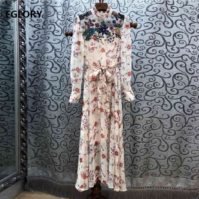 High Quality Runway Dress 2019 Spring Summer Party Events Dress Women Butterfly Floral Embroidery Print Long Sleeve Dress Belt