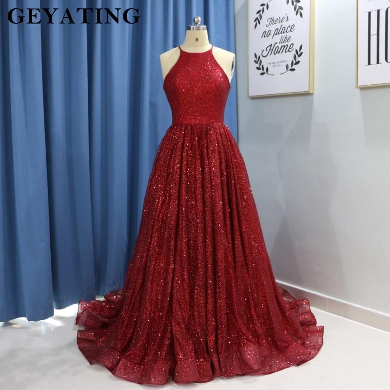 11842e0df2 Bling Bling Sequins Burgundy Prom Dresses 2019 Long Halter Neck ...