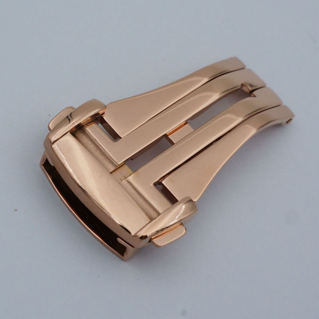 MAIKES Assista Botão Fivela de Implantação de Aço Inoxidável de Alta Qualidade em Ouro Rosa 16 18 20mm Pulseiras Fecho Dobrável Caso Para