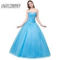 ANGELSBRIDEP Sevgiliye Tül Mavi Gelinlik Modelleri Rhinestones Boncuklu Örgün Abiye törenlerinde Vestidos De Fiesta Boyutu 6 8 10 12 14 16