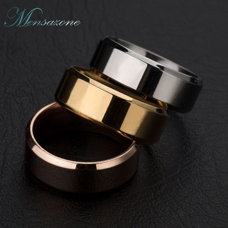 MENSAZONE Fashion Man Stainless Steel Ring Men Classic Round Rings Jewelry Rings For Male Party Gifts