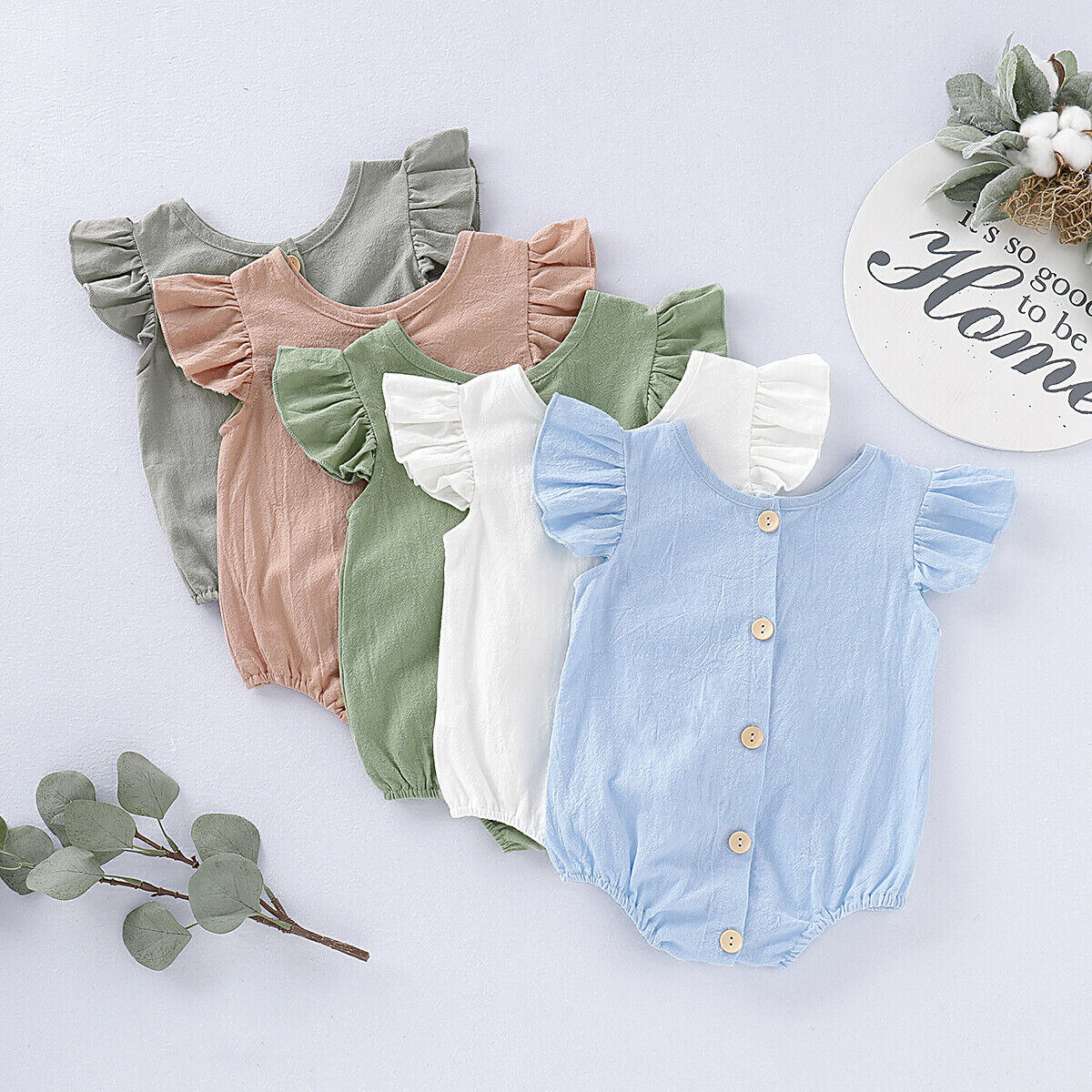 2019 New Infant Newborn Baby Girls Linen Cotton   Romper   Flying Sleeve Solid Color Jumpsuit One-Piece Summer Outfit 0-24M