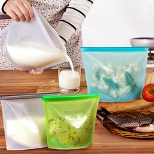 1000ml silicone food bag multi-purpose reusable sealed fresh-keeping refrigerator storage