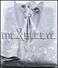 hot sale  sivler paisley  new casual 4pcs tuxedo waistcoat (vest+cravat+handkerchief+cufflinks)