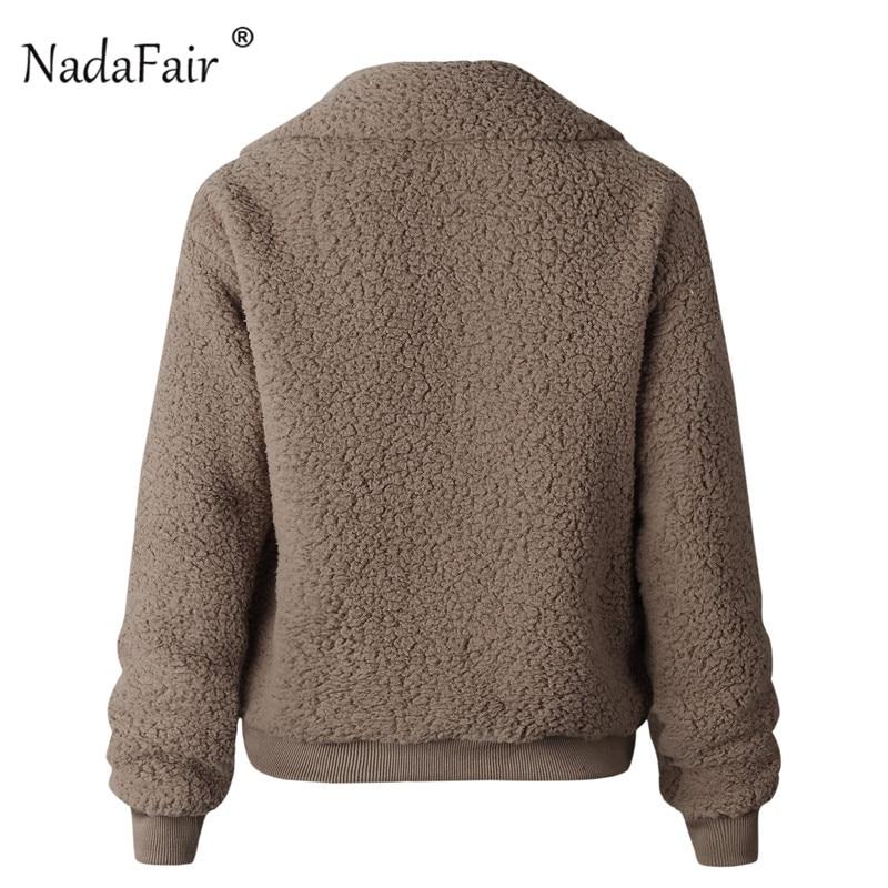 Nadafair Faux Fur Coat Women Autumn Winter Fluffy Teddy Jacket Coat Plus Size Long Sleeve Outerwear Turn Down Short Coat Female 25