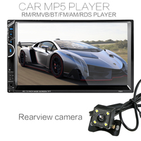 High Power 7'' 2Din HD Car Radio MP5 Player In-Dash Touch Screen Bluetooth HD Rear View Camera Car Stereo FM + Wireless Remote