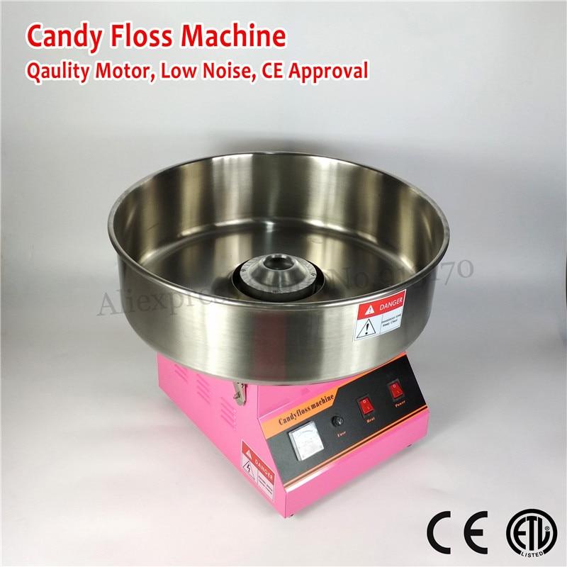 Calidad Comercial máquina de algodón de azúcar eléctrica caramelo Hilo dental fabricante color rosa 52 cm tazón de acero inoxidable Scoop 220 V ~ 240 V CE