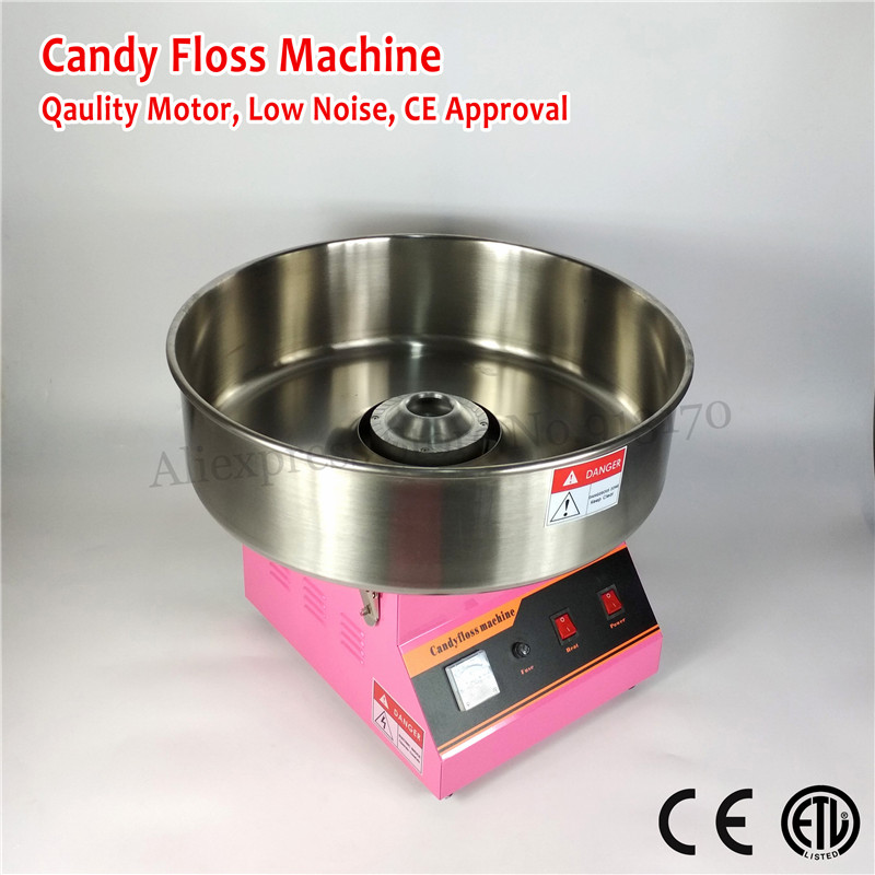 Qualità commerciale Macchina Della Caramella di Cotone Elettrico Candy Floss Maker Colore ROSA 52 cm Ciotola In Acciaio Inox Paletta 220 V ~ 240 V CE
