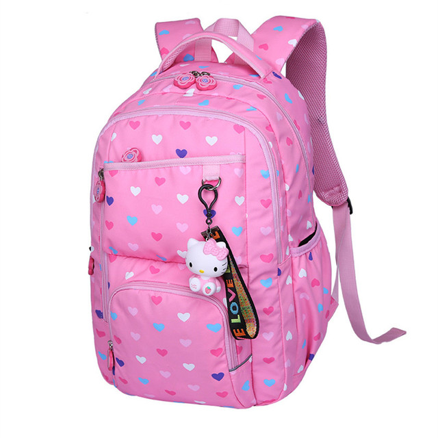 school bags for teenage girls pink love heart printing kawaii school  backpack girl travel bag children backpacks dropshipping f1e260238b2ed