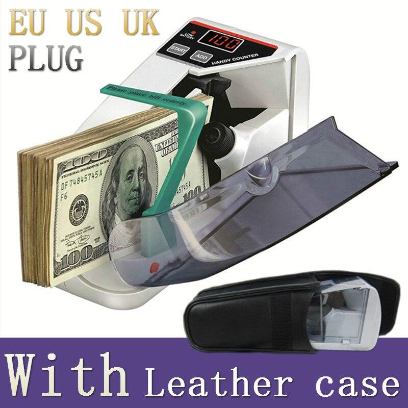 Mini máquina de conteo de monedas manual de billetes en efectivo contador de billetes de CA o con batería para dinero falso dólar UE EE. UU. Reino Unido