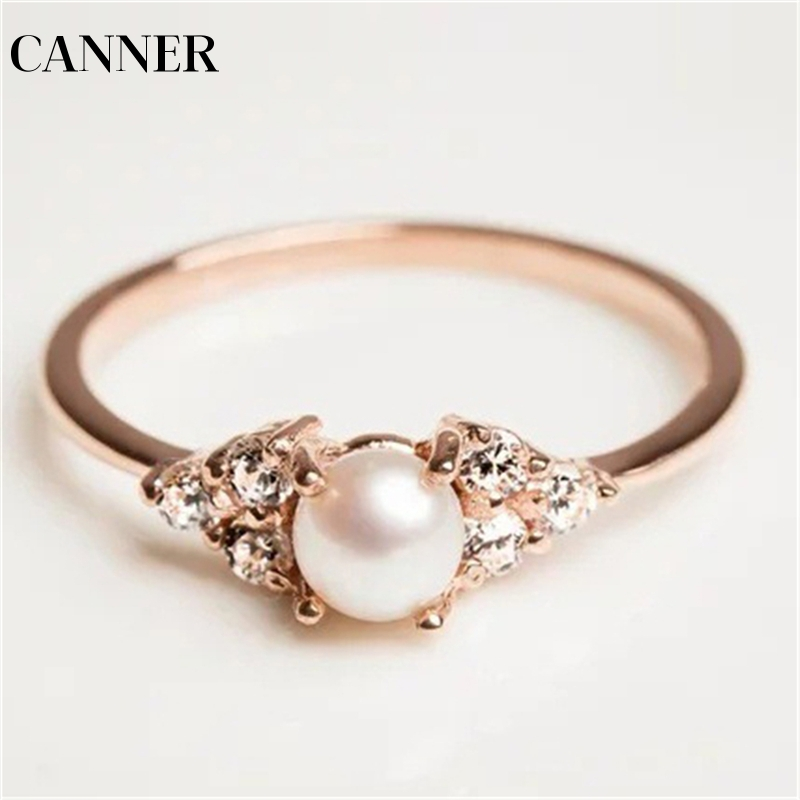 The Cheapest Price Canner Wedding Midi Ring Ring Natural Freshwater Pearl Cubic Zircon Cz Rhinestone Pearl Rings Woman R4