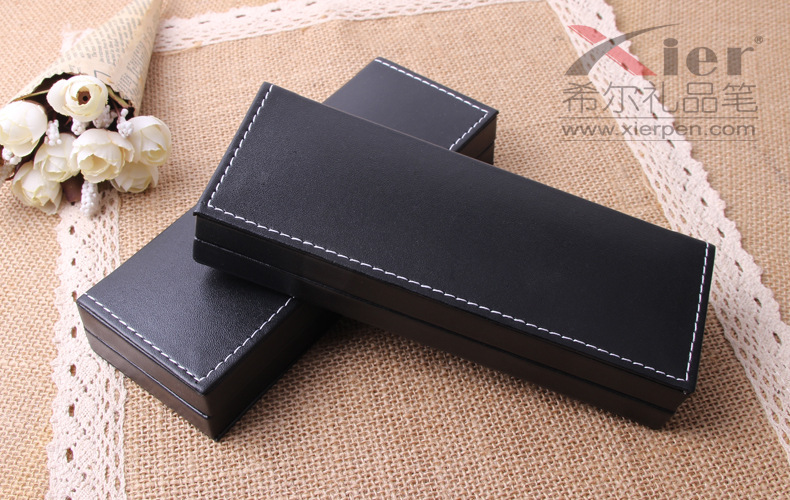 DHL 100pcs/lot office gift pen box office stationery pencil box PU leather pen case business gifts wholesale gift metal pen box
