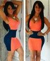 Verano estilo europeo mujeres sin mangas summer dress patchwork paquete hip bodycon lápiz mini vestidos de fiesta vestidos 63