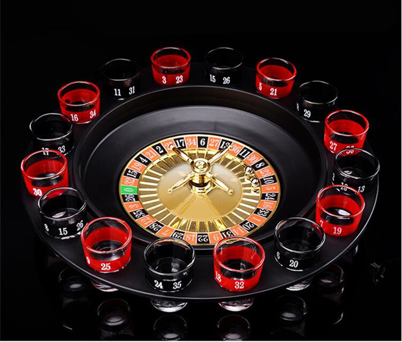 [Funny] 16 Shot Glass Deluxe Russian Spinning Roulette Poker Chips Drinking Game Set Party Supplies Wine Game Adult Drinken Game image