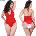 2017 Plus size sexy lingerie hot women 3 color lace v-neck bra Halter teddy sexy lenceria babydoll erotic lingerie sexy costumes