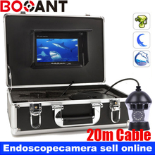 20m PTZ 360 Rotatable underwater fishing camera with white color ccd camera