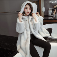 2017 factory new arrival women's full pelt fashion genuine mink fur coat hooded ,100% real mink fur coat LSQ32