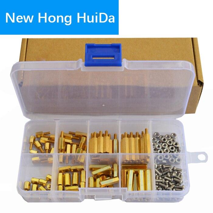 M3 Male-Female Hex Brass Standoff Bolt Screw Nut Threaded Pillar PCB Motherboard Spacer Assortment Kit Mounts 120Pcs