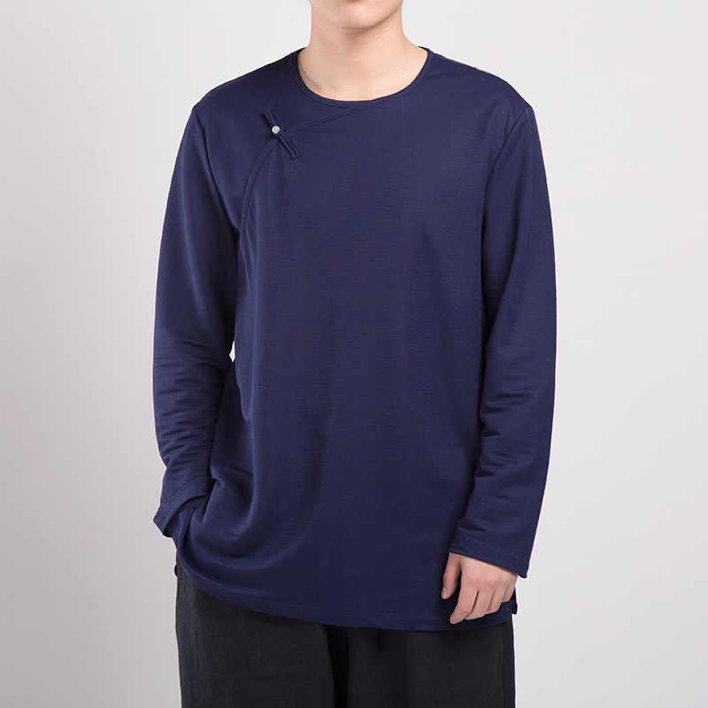男性シャツ2018ブランド長袖男性シャツ純粋な中国スタイル綿レトロシャツ男性固体カジュアル男性緩いカミーサTS-388