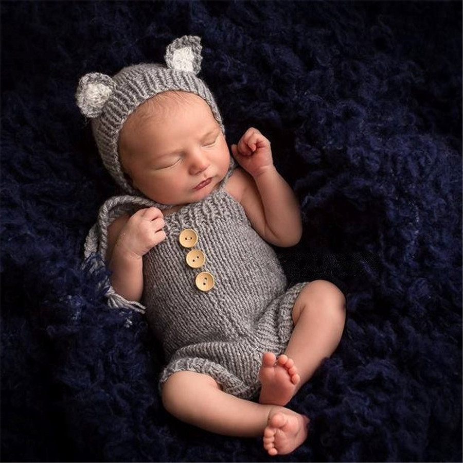 Newborn Photography Props Cute Baby Photography Costume Knitted Fox Ears Hat+Suspenders Set Studio Baby Photo Props Accessories
