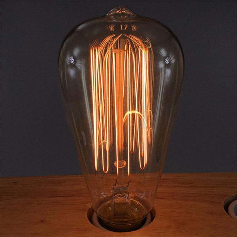 4pcs Retro lamp ST64 Vintage Edison bulb E27 incandescent bulb 110V 220V 40W 60W filament Edison Light for Restaurant Bar
