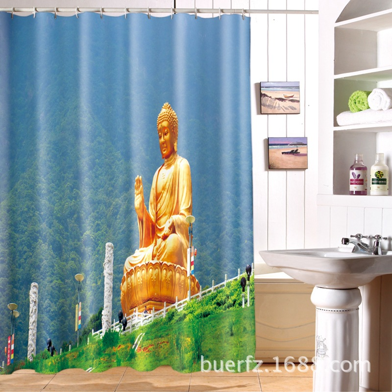 3D Buddha Printing Waterproof Shower Curtain Unique Shower Curtains For  Bathroom Free Shipping(China (