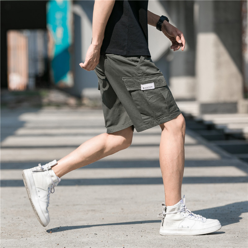 Fashion Cotton Shorts Men Pockets Summer Straight Shorts Hip Hop Knee Length Short Hombre