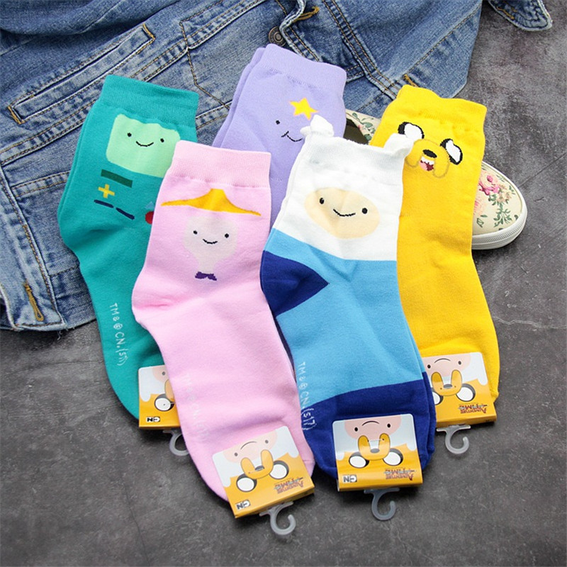 Cute Finn Lovely Kawaii Cotton Women Socks Cartoon Sweet Harajuku Jake Candy Colors Casual Short Socks 5 Pairs/Lot