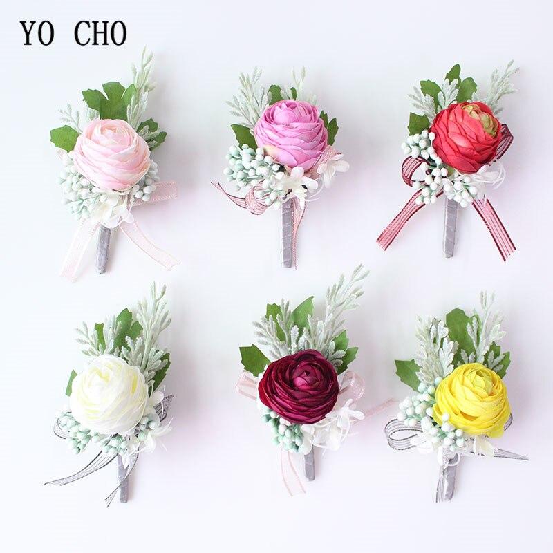 YO CHO Wedding Boutonniere Wedding Flowers Boutonniere Silk Roses Marriage Corsage Boutonnieres Groom Brooch Wedding Accessories