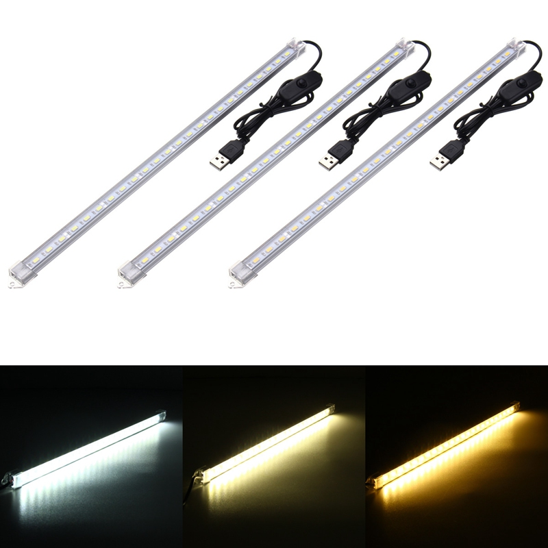 35CM 7W 24 SMD 5630 LED Bar Light USB Powered DC 5V Rigid Strip Hard Bar Light Recharge Tube Lamp With Transparent Cover