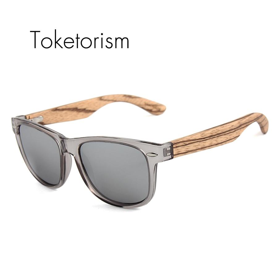 Toketorism 2019ゼブラウッドサングラス偏光黒檀木製サングラス透明グレーフレーム男性用女性1051