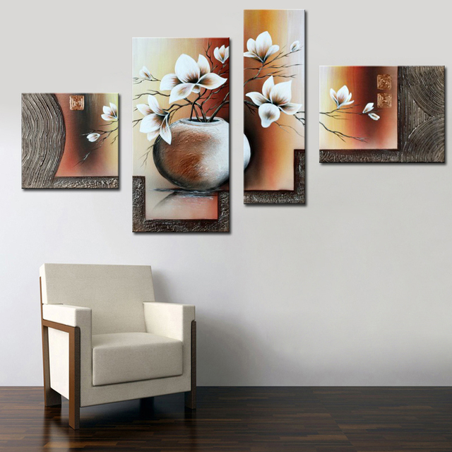 Exquisite Home Decor Oil Painting Calligraphy Beautiful White Flower In Pot 100 Hand Painted Acrylic Canvas 4 Panel