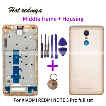 אמצע לוחית מסגרת לxiaomi Redmi הערה 3 פרו מול הלוח הקדמי התיכון מסגרת + מתכת סוללה חזרה כיסוי תיקון חלק עם כלים