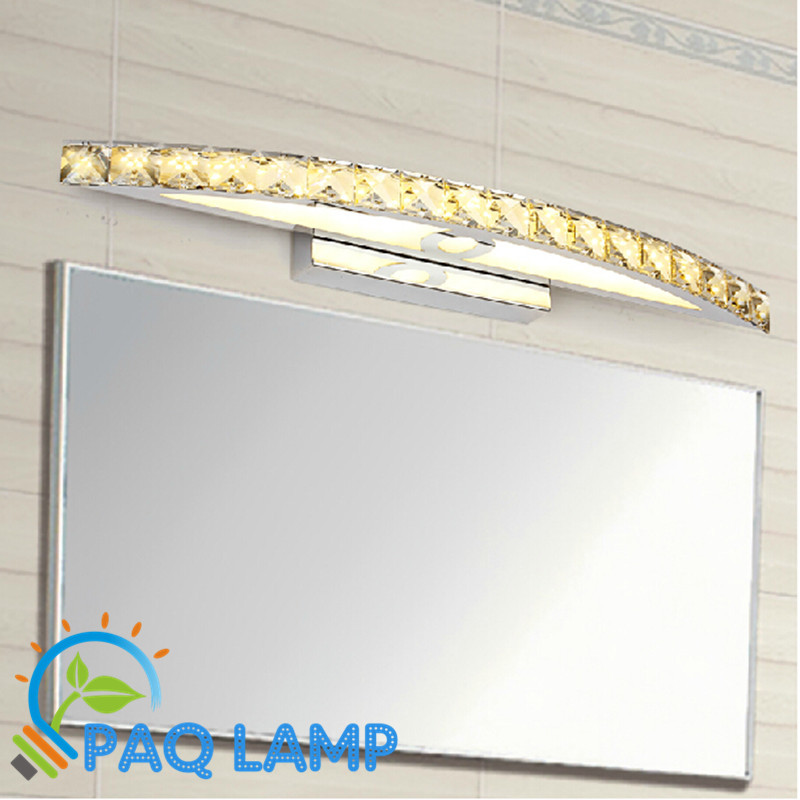 LED Mirror front Lamp 42*6cm Antirust Brushed AC90V-260V power10W Aluminum and crystal shell wall Bathroom fixture wall light ...
