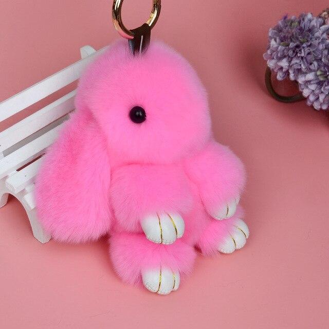 Rabbit Keychain Cute Fluffy Bunny Keychain Rex Genuine Rabbit Fur Pompom Key Ring Pom Pom Toy Doll Bag Charm Car Key Holder 4