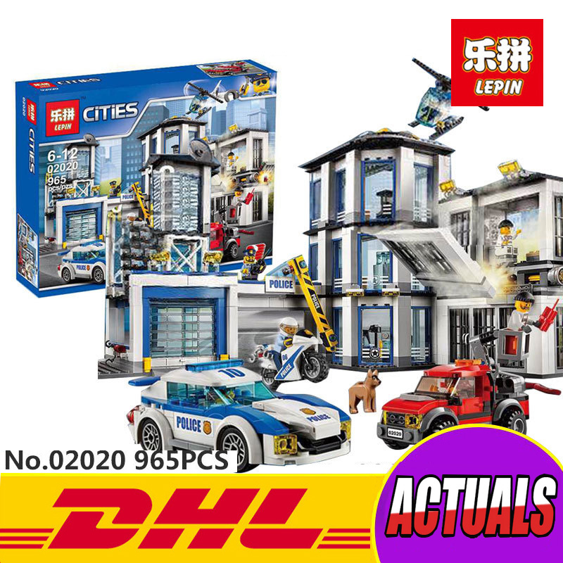 LEPIN 02020 965Pcs City Series The New Police Station Set Children Educational Building Blocks Bricks Toys Model for Gift 60141 lepin 02012 city deepwater exploration vessel 60095 building blocks policeman toys children compatible with lego gift kid sets