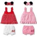 3pcs Cute Polka Dot Newborn Infant Toddlers Headband+Top+Pants Shorts Outfit Baby Girl Clothes Ropa de Bebe