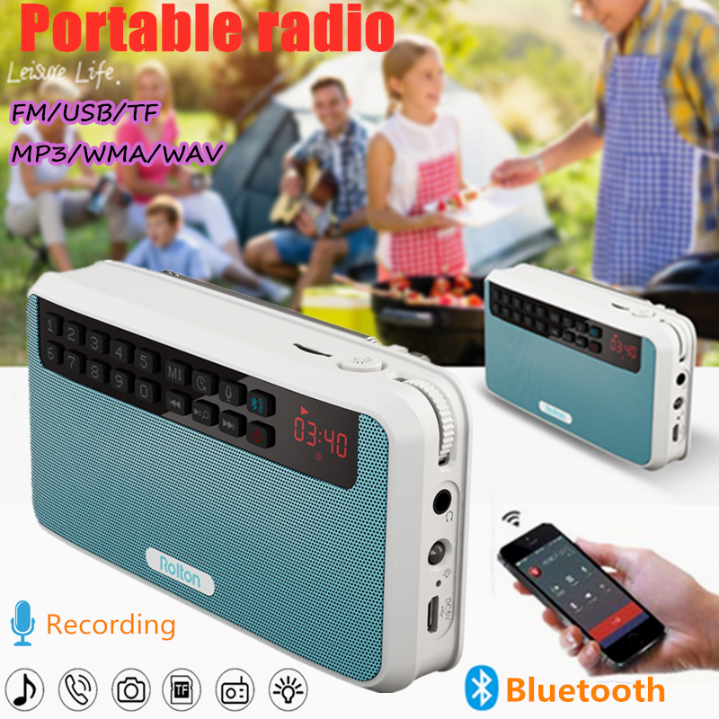 Rolton E500 Digital FM Radio Bluetooth Speaker Portable Wireless Voice Recorder AM NOAA Receiver Recording USB Mp3 Stereo Tuning