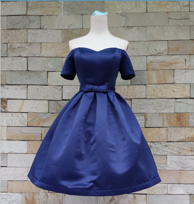 short sleeves bow sashes 2015 new design formal gown custom sexy sweetheart knee-length Prom Dresses lace up evening dress