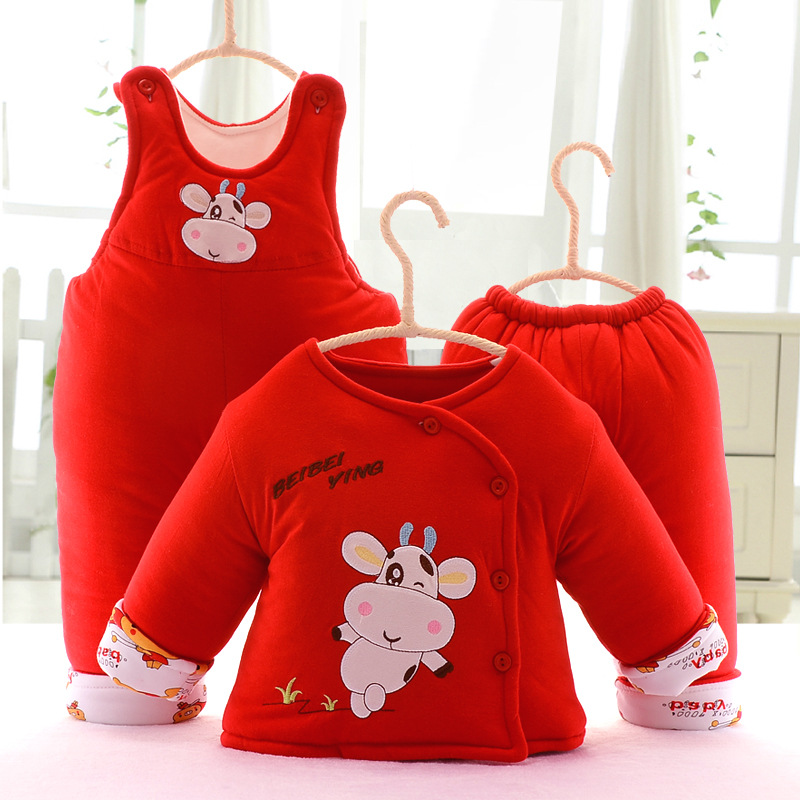 Newborn Baby Carters Thick Cotton Warm  Infant Clothes 3-piece Set Cotton Full Sleeve Set