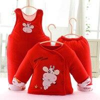 Newborn Baby Carters Thick Cotton Warm Infant Clothes 3-piece Set Cotton Full Sleeve Set
