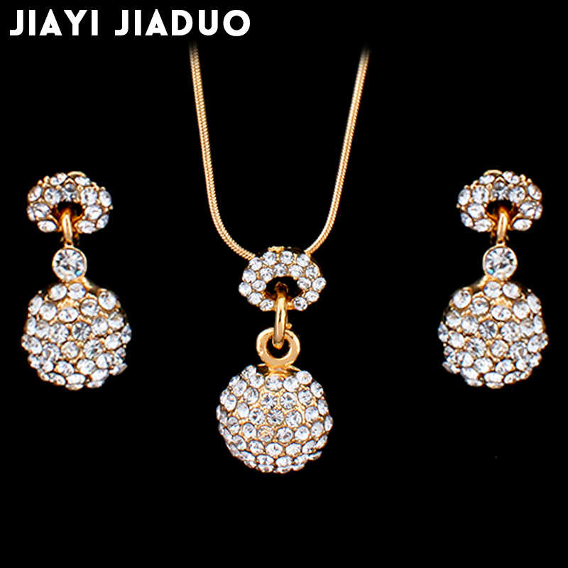 jiayijiaduo  Jewelry Set For Woman Long Necklace Pendant Crystal Earrings Wedding Jewelry Gift dropshipping