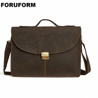 Top Grade Male Men Vintage Real Crazy Horse Leather Briefcase Messenger Shoulder Portfolio Laptop Bag Case